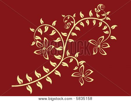 it is a vector illustration of ornamental branch poster
