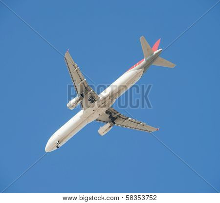Large Passenger Aircraft In Flight Against Blue Sky