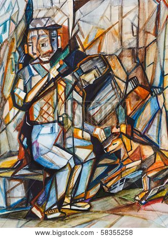 Cubism. The Old Man With A Dog