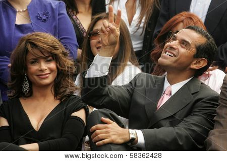 Paula Abdul and Antonio Villaraigosa at the Ceremony Honoring Los Angeles Lakers Owner Jerry Buss with the 2,323rd star on the Hollywood Walk of Fame. Hollywood Boulevard, Hollywood, CA. 10-30-06