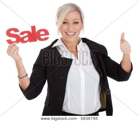 Beautiful Businesswomen Is Happy With A Sale