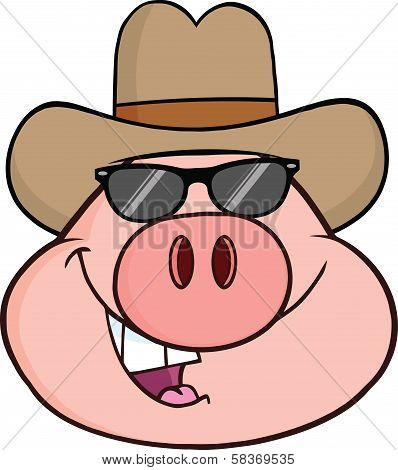 Pig Head Character With Sunglasses And Cowboy Hat