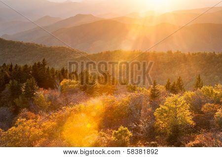 Autumn Sun Flares across an Autumn Scenic of the Southern Appalachian Mountains