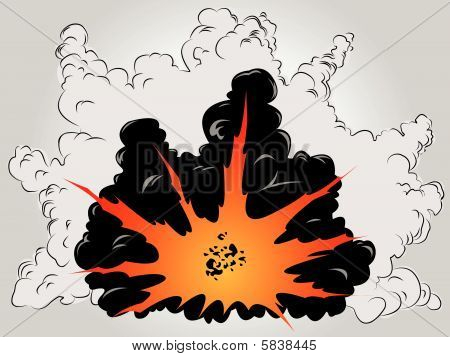 The vector image of the big explosion in ashes and smoke clouds poster