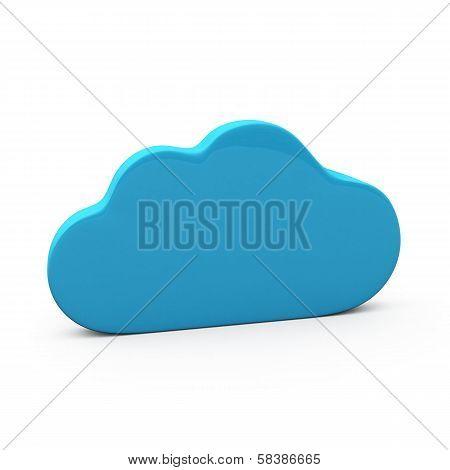 Blue cloud icon, 3d