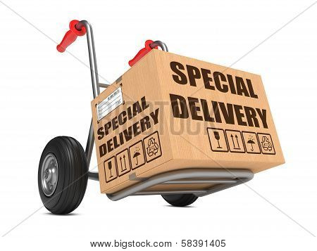Special Delivery - Cardboard Box on Hand Truck.