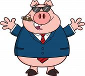 Businessman Pig With Sunglasses,Cigar And Open Arms Cartoon Character poster