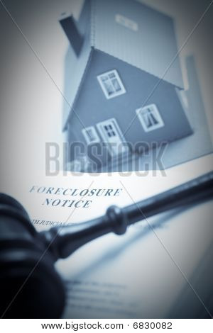 Foreclosure Notice, Gavel And Home Duotone