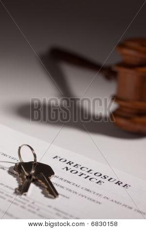Foreclosure Notice Gavel and House Keys on Gradated Background with Selective Focus. poster