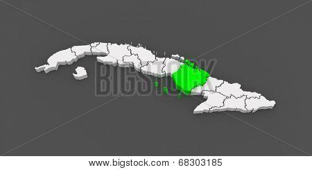 Map of Camaguey. Cuba. 3d