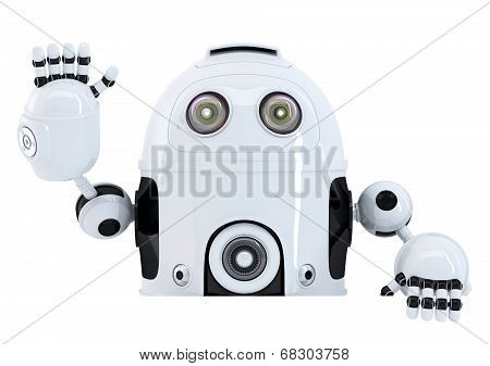 Robot Holding Blank Banner And Waving Hello. Isolated. Contains Clipping Path