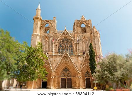 Lala Mustafa Pasha Mosque (formerly St. Nicholas Cathedral), Famagusta, Northern Cyprus. Front View