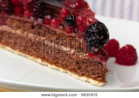 Chocolate pie(Tart) with cream,cherry,raspberry, and other fruits