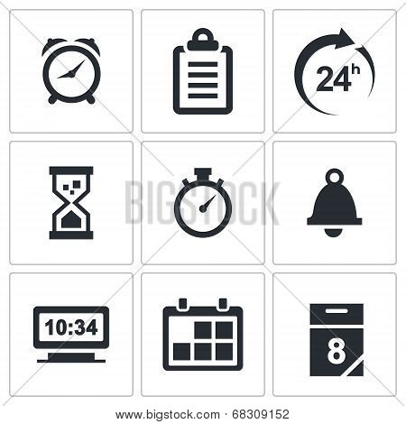Clock And Time Icons Set