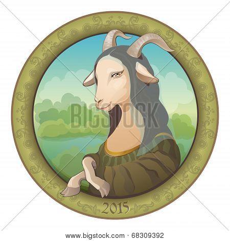 Goat - Mona Lisa. Symbol New Year