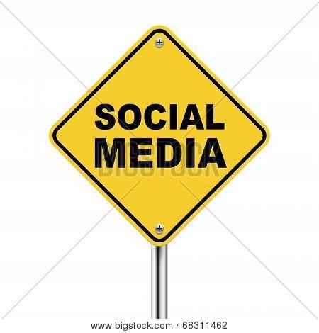 3D Illustration Of Yellow Roadsign Of Social Media