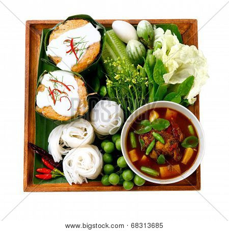 "Thai noodle known as ""kha nom jean"" and very spicy curry known as ""tai pla curry"" the popular of southern food in Thailand poster"