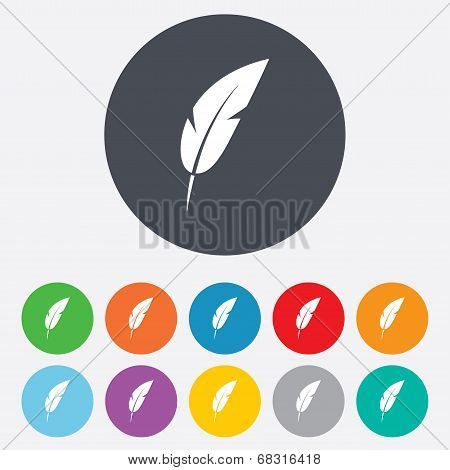 Feather sign icon. Retro pen symbol. Light weight symbol. Round colourful 11 buttons. Vector poster