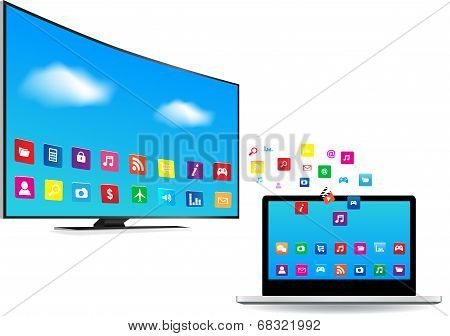 Smart Tv And Laptop With Apps