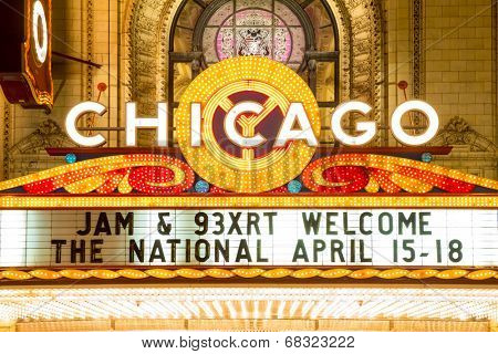 Chicago - April 17: Chicago Theather neon sign on April 17, 2014 in Chicago, IL. It'is a landmark theater located on North State Street in the Loop area of Chicago.