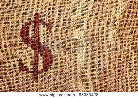 Light Natural Burlap Texture With Dollar Symbol