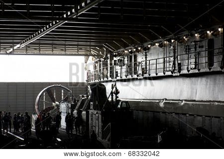 NEW YORK - MAY 22: A wide view of the well deck of the amphibious dock landing ship USS Oak Hill (LSD 51) moored at Pier 92 for Fleet Week NY on May 22, 2014.