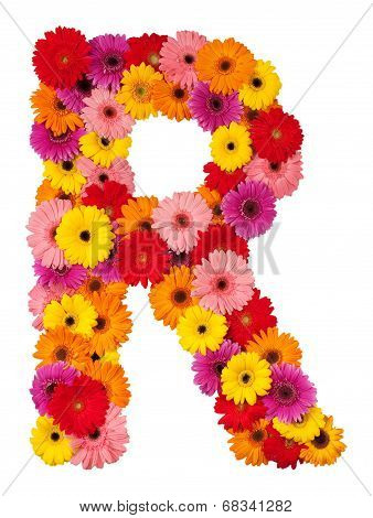 Letter R - Flower Alphabet Isolated On White