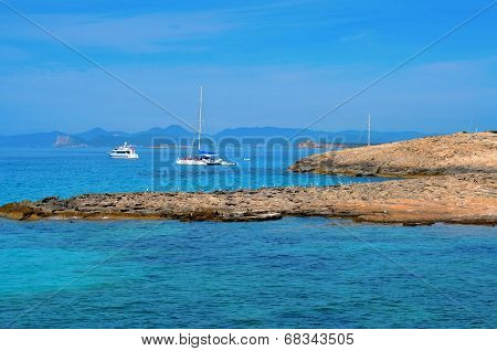 view of Ses Illetes coast in Formentera, Balearic Islands, Spain
