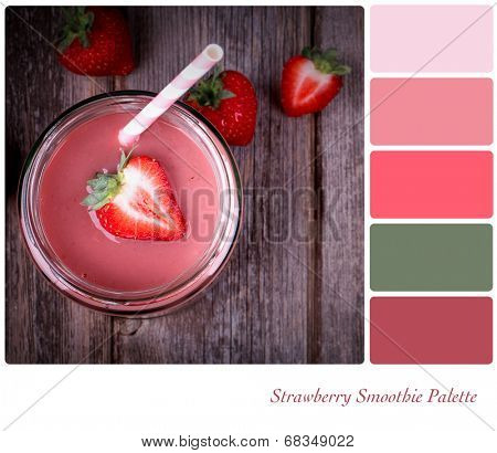 A strawberry smoothie in a glass jar, vintage style, in a colour palette with complimentary colour swatches