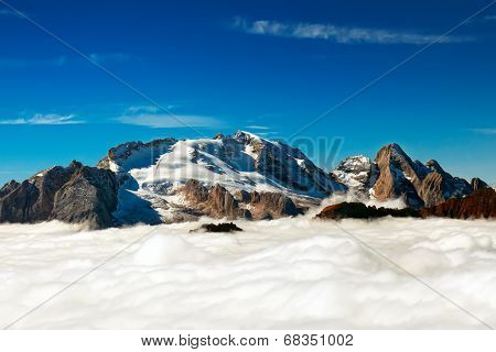 Italian Dolomiti - Marmolada Peak Emerges From The Clouds