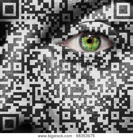 Qr Code Superimposed On A Mans Face