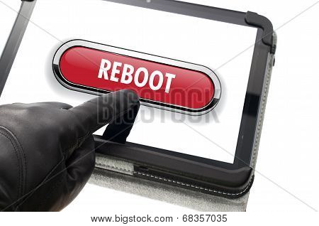 Online Mobile Reboot Concept With Hand Wearing Black Glove Pointing A Touch Screen
