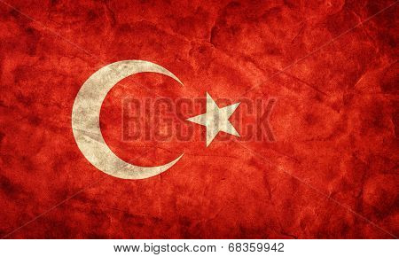 Turkey grunge flag. Vintage, retro style. High resolution, hd quality. Item from my grunge flags collection.