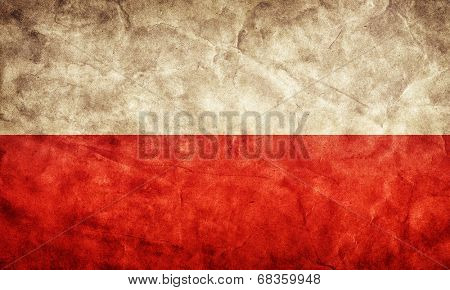 Poland grunge flag. Vintage, retro style. High resolution, hd quality. Item from my grunge flags collection.