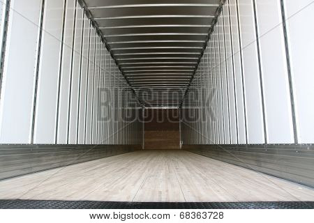Big trailer container empty ready to be loaded poster