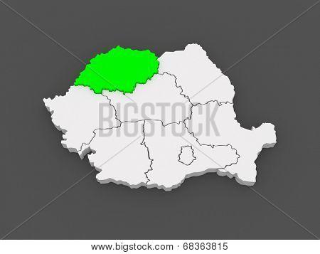 Map of Northwestern Development of Romania. 3d