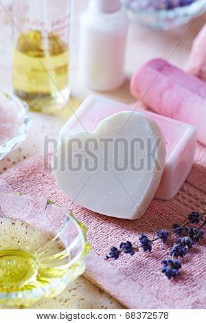 Handmade Glycerin Soaps on a Bath Towel