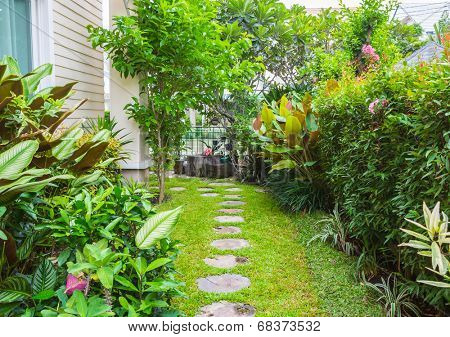 Flagstone path in home garden
