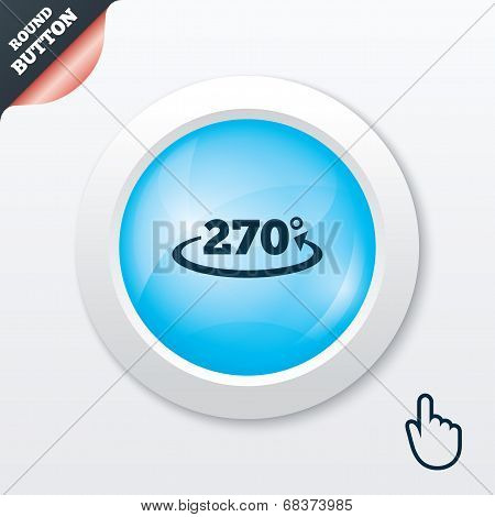 Angle 270 degrees sign icon. Geometry math symbol. Blue shiny button. Modern UI website button with hand cursor pointer. Vector poster