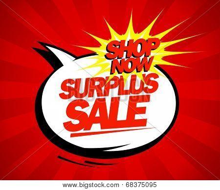 Surplus sale design in pop-art style.