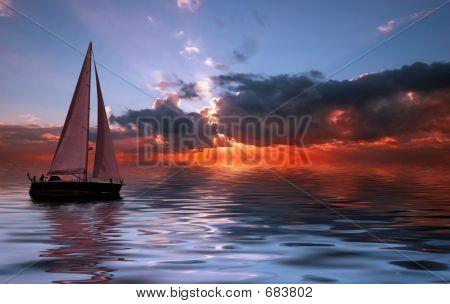 bei Sonnenuntergang Segeln