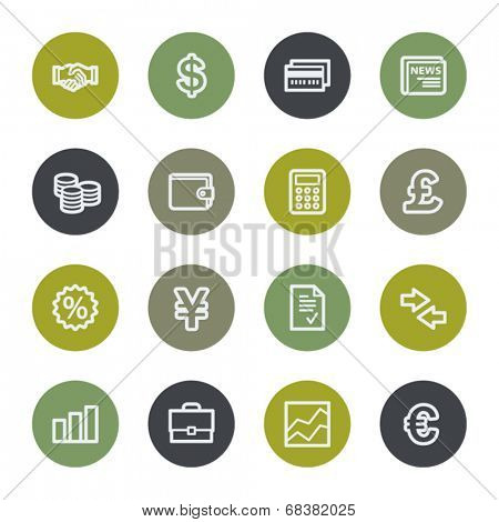 Finance web icons set, color buttons