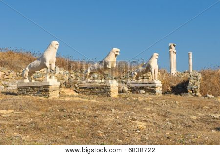 The Terrace Of The Lions, Delos Island, Greece