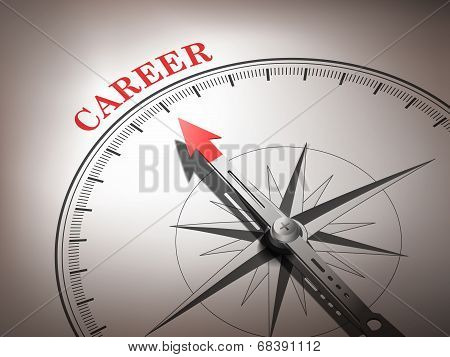 Abstract Compass Needle Pointing The Word Career