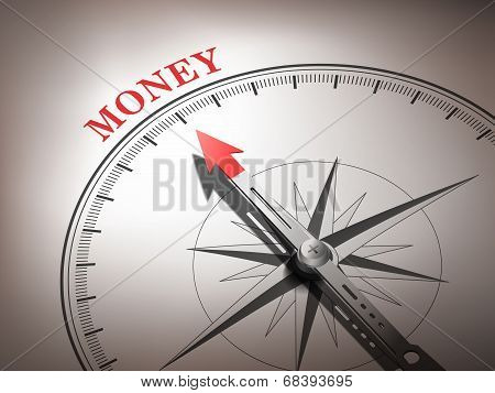 Abstract Compass Needle Pointing The Word Money