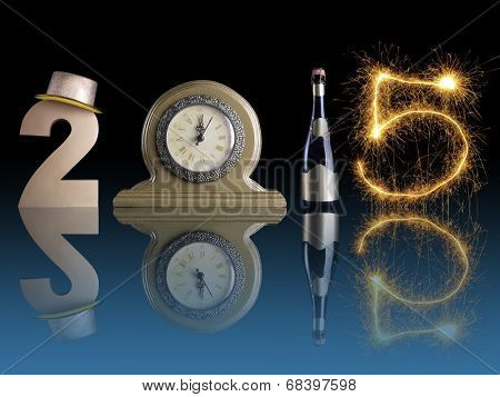 New Year 2015 set up of golden digit two, table clock, bottle of champagne and digit five created from burning sparkler all with mirror reflection effect