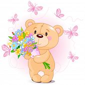 Cute little Teddy bear surrounded butterfly holding a bouquet poster