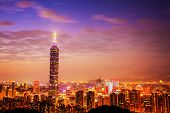 Taipei's City Skyline at sunset with the famous Taipei 101 for adv or others purpose use poster