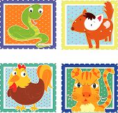 illustration of sticker stamp with animal on white background poster