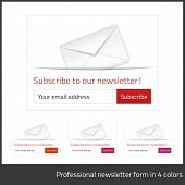 Light Subscribe to newsletter form with white background and button in 4 warm tones poster